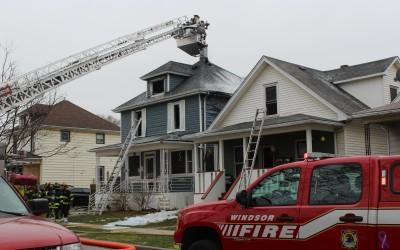 Windsor fire battling a blaze on Hickory St. in Ford City, March 23, 2016 (Photo by Maureen Revait)