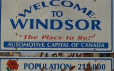 An official City of Windsor welcome sign is photographed on northbound Walker Road near the 401 on March 7, 2016.
