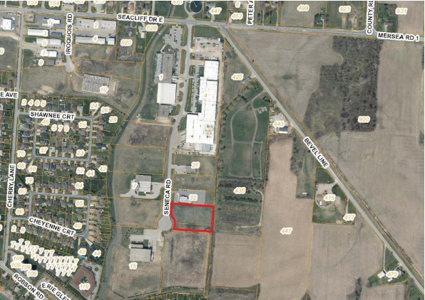 The location of the future Koppert Canada development highlighted in red,. (Photo provided by the Municipality of Leamington)