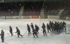 Chatham Maroons celebrate 4-3 win over the Flyers in Leamington in Game 3 of their GOJHL second round playoff series, for a 2-1 series lead, on Tuesday, March 22, 2016. (Photo by Mike James)