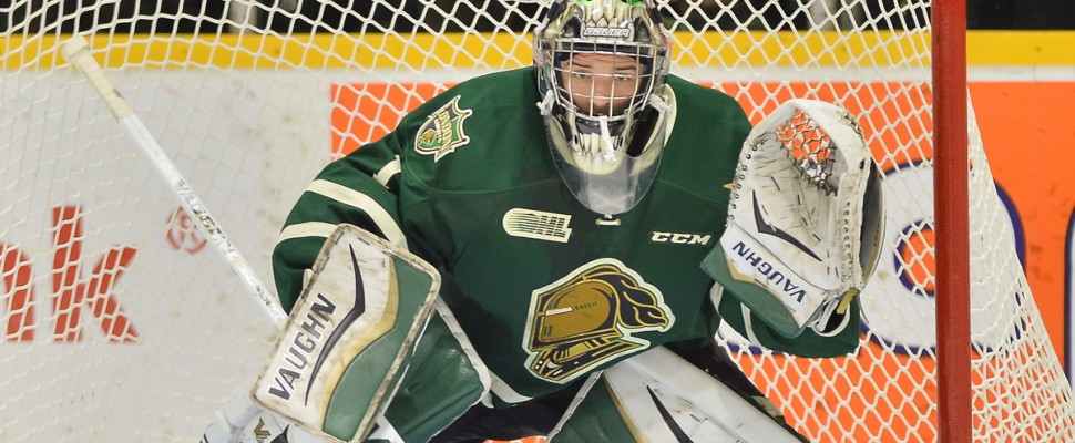 Tyler Parsons of the London Knights. (Photo courtesy of Terry Wilson via OHL Images)