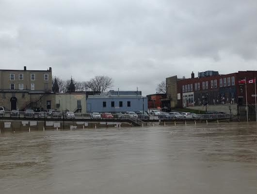 The Thames River rising closed to King St. parking lot March 26, 2016