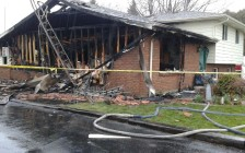 The scene after a fire on March 24, 2015 at 58 Nichols Drive, Blenheim. (Photo courtesy of Gord Claridge)