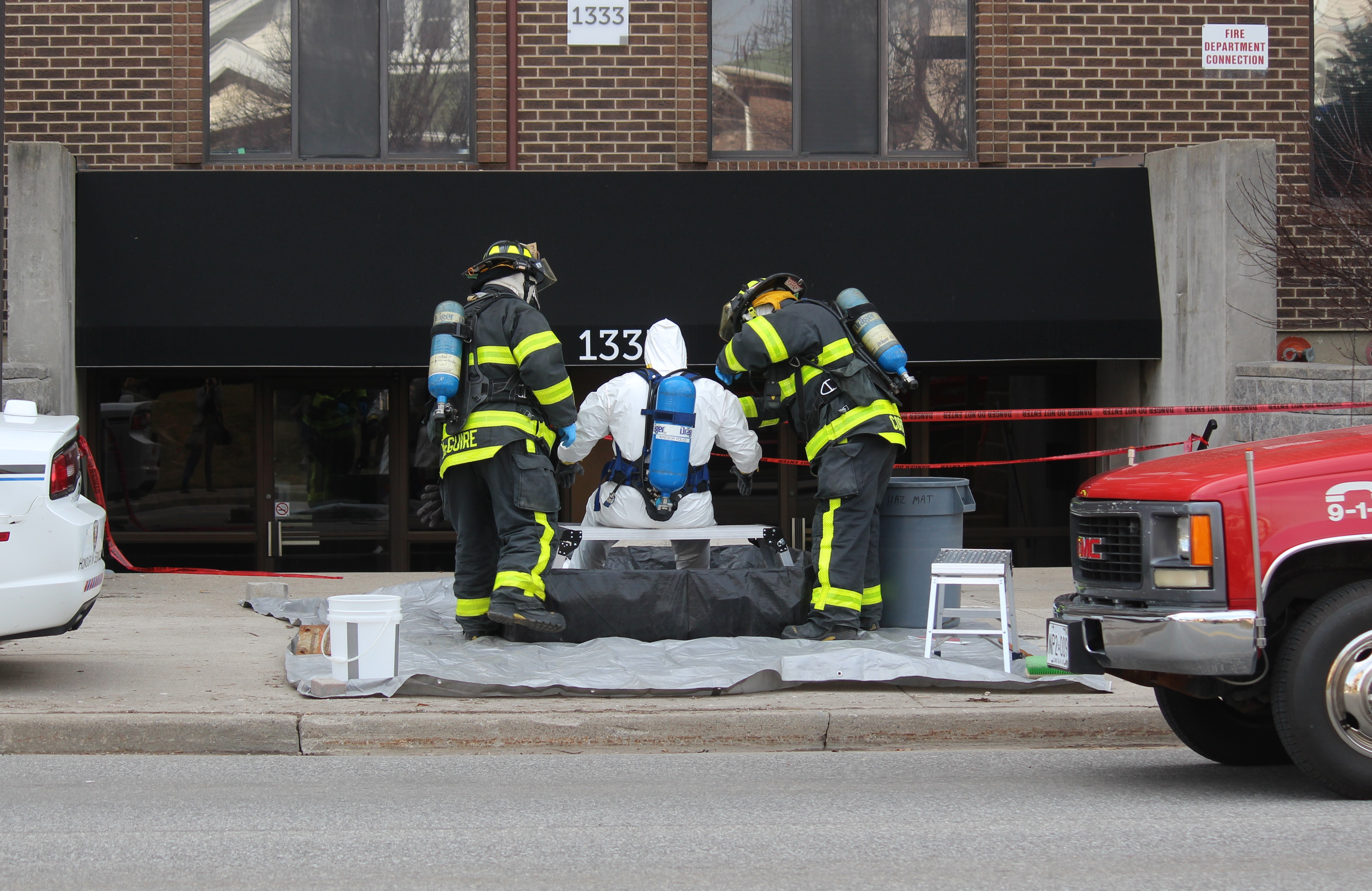 Windsor Fire Service investigate a suspicious material at apartment at 1333 Ouellette Ave. March 8, 2016. (Photo by Maureen Revait)