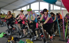 YMCA members cycle for a good cause during the Sweat for Strong Kids event in 2015. (Photo courtesy of the YMCA)