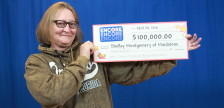 Shelley Montgomery shows off her winnings (Provided by the OLG)