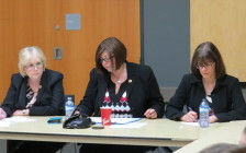 MPPs Peggy Sattler, Monique Taylor, and Teresa Armstrong meet with parents of autistic children in London, April 21, 2016. Photo by Miranda Chant, Blackburn News.
