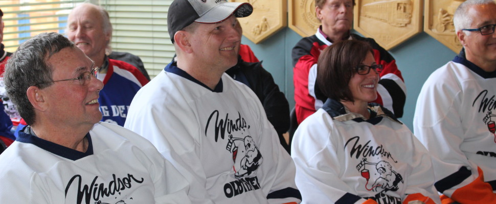 Bill Kell (left), Chris Hill (centre), and Sandy Garneau (right) attend a news conference regarding the CARHA Hockey World Cup on April 1, 2016. (Photo by Ricardo Veneza)