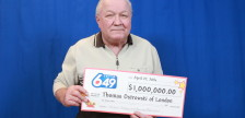 Thomas Ostrowski claiming his lotto winnings in Toronto. Photo courtesy of the OLG.