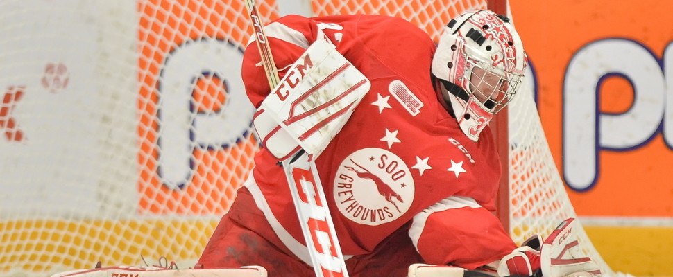 Joseph Raaymakers of the Sault Ste. Marie Greyhounds. Photo by Terry Wilson / OHL Images.