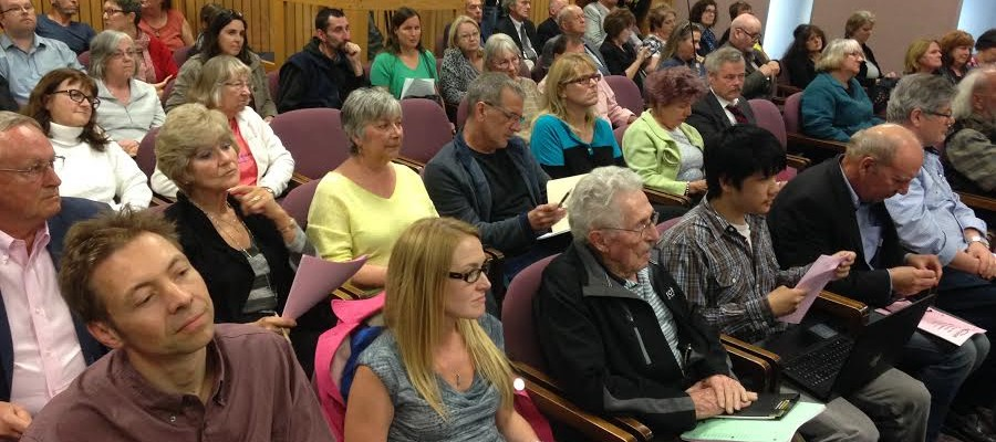 Residents attend a special meeting of Windsor City Council to hear discussions on the levy for the new acute care hospital, April 25, 2016. (Photo by Maureen Revait)