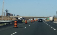 Construction on Hwy. 401 at Communication Rd., May 6, 2016 (Photo by Jake Kislinsky)