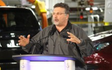 Unifor Local 444 President Dino Chiodo at the launch for the 2017 Chrysler Pacifica, May 6, 2016. (Photo by Maureen Revait)