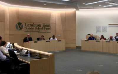 Lambton Kent District School Board meeting May 24, 2016 for the consolidation of South Plympton and Wyoming Public Schools. (BlackburnNews.com Photo by Briana Carnegie)