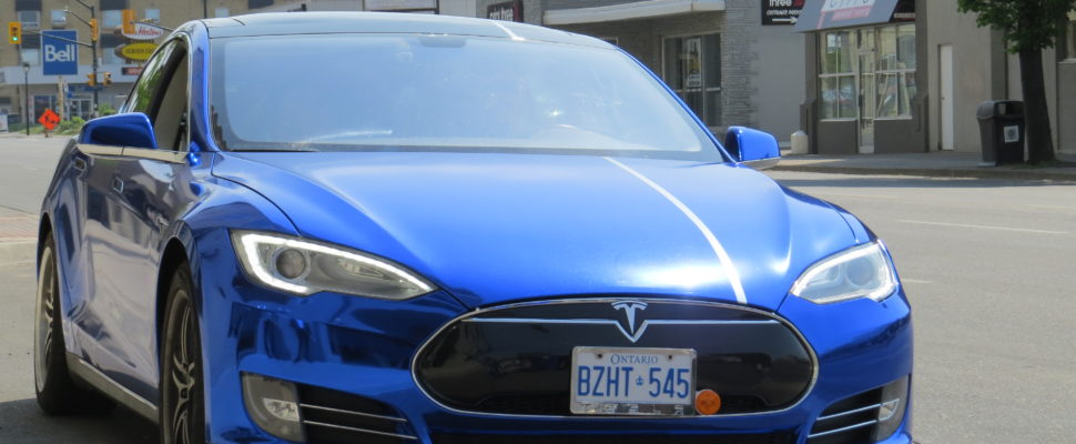 E1 Transit's Tesla S90D model electric vehicle, May 25, 2016. (Photo by Samuel Gallant, Blackburn News)