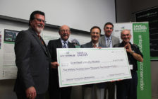 GreenField Specialty Alcohols in Chatham receives a $5-million cheque through the Save on Energy program. Photo taken May 25, 2016. (Photo courtesy Entegrus)
