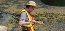 Kevin Taylor with Pestalto Environmental Services conducts mosquito surveillance at the Ojibway Nature Centre, May 25, 2016. (Photo by Maureen Revait)