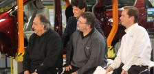 FCA President Sergio Marchionne, Unifor President Jerry Dias, Unifor Local 444 President Dino Chiodo and Plant Manager Michael Breida at the launch of the 2017 Chrysler Pacifica, May 6, 2016. (Photo by Maureen Revait)