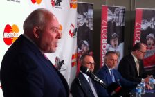 OHL Commissioner David Branch speaks at the WFCU Centre in Windsor, as the Spitfires are awarded the 2017 MasterCard Memorial Cup, May 2, 2016. (Photo by Mike Vlasveld)
