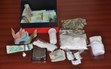 Drugs and cash found during Ridout St. traffic stop. Photo courtesy of London police.