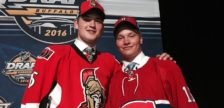 Mikhail Sergachev and Logan Brown after being drafted into the NHL. (Photo courtesy of the Windsor Spitfires)