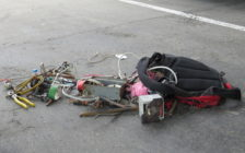 Wires and scrap metal found inside a suspicious backpack found outside of Westervelt College, June 13, 2016. (Photo by Miranda Chant, Blackburn News)