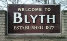 Welcome to Blyth Sign, North End of Town (Photo by Craig Power, © 2016).