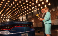 Ontario Premier Kathleen Wynne is told about vehicle testing to simulate extreme heat and cold at the Chrysler Research Centre, June 15, 2016. (Photo by Jason Viau)