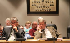 Dan Currie of MHPC Planning (left) and Rondeau Cottager's Association President Dr. David Colby (right) during an OMB hearing in Chatham-Kent Council Chambers, June 15, 2016 (Photo by Jake Kislinsky)