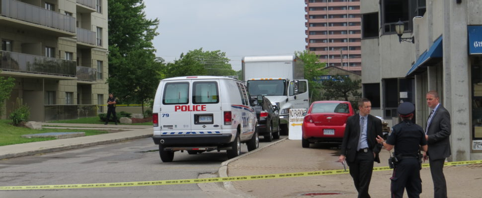 London police investigating after body of baby found in dumpster at Richmond St. and Mill St. (Photo by Samuel Gallant, Blackburn News)
