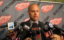 Detroit Redwings Head Coach Jeff Blashill speaks to media during the funeral visitation for Gordie Howe, June 14, 2016. (Photo by Maureen Revait)