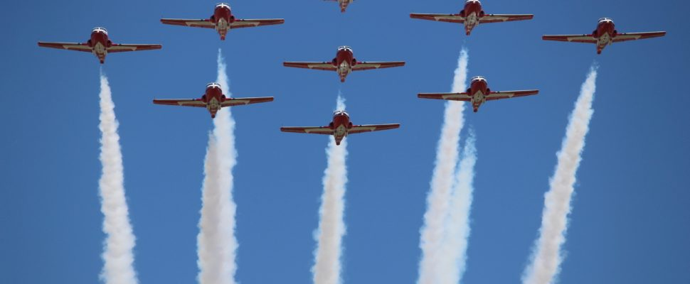 Canadian Armed Forces Snowbirds fly over Windsor International Airport, June 21, 2016. (Photo by Maureen Revait)