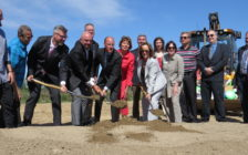 Officials breaking ground on the site of the new Southwest Community Centre, YMCA, and public library on Southdale Rd., June 14, 2016. (Photo by Miranda Chant, Blackburn News)