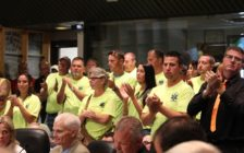 Paramedics applaud during a Chatham-Kent Council meeting. Council was debating a blended Fire/EMS service for the municipality, June 27, 2016 (Photo by Jake Kislinsky)