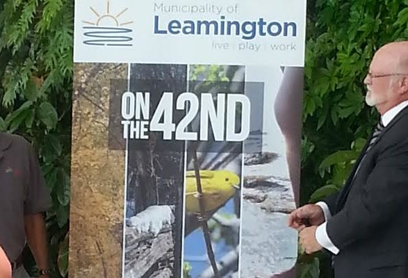 Leamington Mayor John Paterson unveils a new summer event, June 3, 2016. Photo by Arlene Sinasac.
