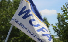 The Windsor University Faculty Association flag is seen at a rally at the Civic Centre in Essex on July 7, 2016. (Photo by Ricardo Veneza)