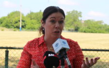 Windsor West MPP Lisa Gretzky speaks at a news conference at Windsor Stadium on July 8, 2016. (Photo by Ricardo Veneza)