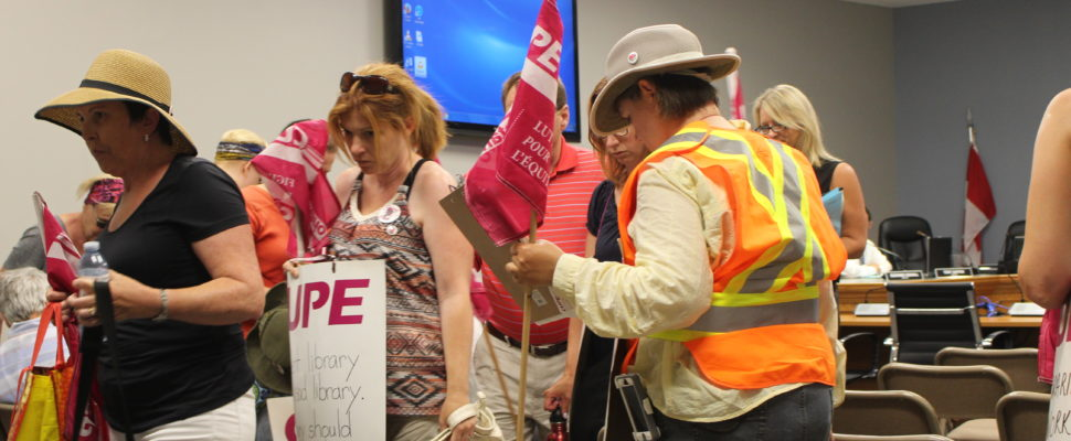 CUPE members leave the July 11, 2016 regular meeting of Kingsville council. (Photo by Ricardo Veneza)