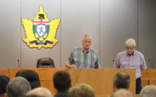Chatham-Kent-Essex MPP Rick Nicholls (right) and Haldimand-Norfolk MPP Toby Barrett (left), the PC agriculture critic, hold a town hall at the Leamington Municipal Building on July 25, 2016. (Photo by Ricardo Veneza)