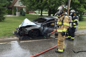 Emergency crews respond to crash on Front Rd. near the Ranta Marina, July 14, 2016. (Photo courtesy Amherstburg fire)