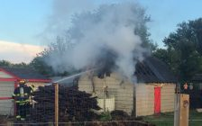 Firefighters battle a shed fire on Deer Run Rd. in Leamington, August 28, 2016. (Photo courtesy of Leamington Fire Services)