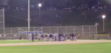 The London Majors and the Toronto Maple Leafs face off on the field after an incident during Game 4 of the IBL semifinal, August 24, 2016. (Photo courtesy of Stéphane Demers via Twitter)