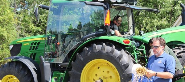 Volunteers demonstrate tractor safety at the Chatham-Kent Children's Safety Village, August 24, 2016 (Photo by Jake Kislinsky)