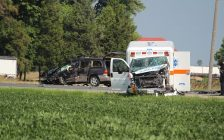 The scene of a crash on Hwy. 40 just north of Greenvalley Line, August 19, 2016 (Photo by Jake Kislinsky)