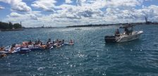 Participants in the Pt. Huron float down are pulled back to U.S. waters after being blown into Sarnia Bay. August 21, 2016 BlackburnNews.com photo by Melanie Irwin.
