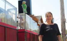 Richmond Row-area resident Anna Maria Valastro stands near the patio of the Barking Frog. (Photo by Miranda Chant, Blackburn News)