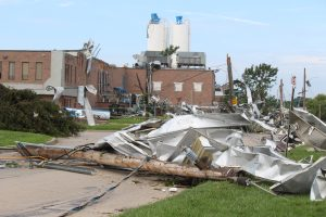 Crews assess and clean up the damage left near the EC Row Expressway and Central Avenue in Windsor on August 25, 2016 after a tornado hit the area. (Photo by Ricardo Veneza)