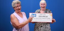 Jackie Polyak and Fran Vandermeer of Chatham celebrate winning over $53,000 with LOTTO 6/49, August 3, 2016 (Photo courtesy of the Ontario Lottery and Gaming Corporation)