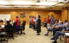 Locals stand in front of Walpole Island Band council to express concerns about natural gas construction on Walpole Island. August 10, 2016. (Photo by Natalia Vega)
