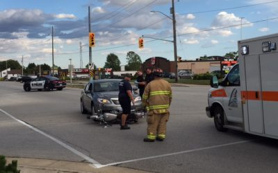A car and motorcycle collide on London Rd. Sept. 27, 2016 (BlackburnNews.com photo by Melanie Irwin)
